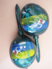 Mexican Maracas Colorful Forest Green handcrafted handpainted - fish