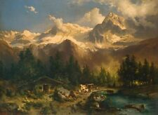 """oil painting handpainted on canvas """"Rocky Mountain Landscape and Animals""""N8388"""