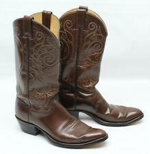 Justin 1264 Mens Cowboy Western Boots 10 D Brown Leather Stitch Pull On