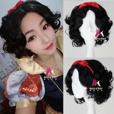 Princess Snow White wig short black curly cosplay anime wig with red hair pin