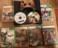 Xbox 360 S 250 GB Black Console bundle + 1 Pad + 9x Games USED FAST POST