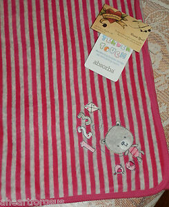 ABSORBA BLANKET RECEIVING BEAR KITE 123 PINK TENDER TOUCH BABY DOUBLE KNIT  GRAY