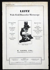 New listing 1931 Antique Leitz Binocular Microscope & Accessory Catalog Brochure & Prices