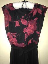 Enfocus Studio Black Red Floral Slim Straight Leg Sleeveless Tie Jumpsuit Sz 8