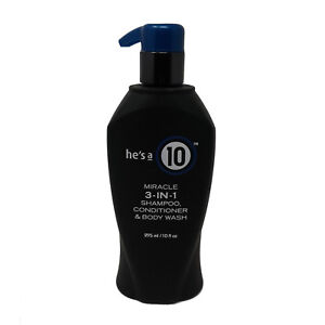 He's A 10 ~ Miracle 3-in-1 Shampoo, Conditioner, & Body Wash 10 Ounce