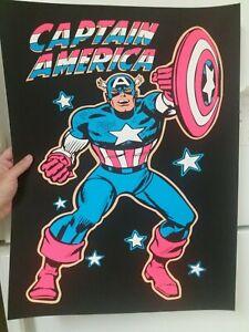 Vintage 1970s Marvel / DC comics  CAPTAIN AMERICA  Blacklight Carnival Poster