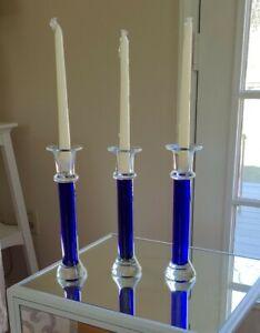 PAIR OF CRATE & BARREL COBALT BLUE STEM CLEAR GLASS TAPER CANDLESTICK HOLDERS
