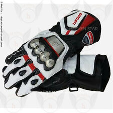 Ducati Corse Motorbike Racing Leather Gloves Steel Protection Free USA Shipping