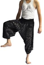 Thai fisherman pants Yoga Harem pants Samurai aladin Art black cotton, Wide leg