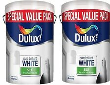 2 for £34.99  Dulux Pure Brilliant White Silk Emulsion-Walls & Ceilings Paint 6L