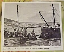 1962 Herring Fishermen Unloading a Day's catch in the Harbor of Scalloway,Écosse