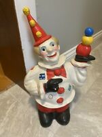 "Vintage Painted Ceramic Clown Figurine Piggy Bank Collectible Rare Circus 15"""
