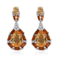 Dangle Drop Earrings Rhodium Over 925 Sterling Silver Citrine Jewelry Ct 3.9