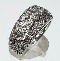 925 Silber Ring im Stil der 20er Jahre mit 49 echten Diamanten besetzt RG 56 A31