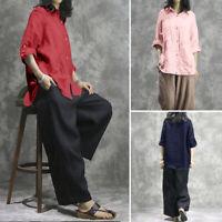 ZANZEA Femme Chemise 100% coton Couleur Unie Manche Longue Ample Shirt Tops Plus