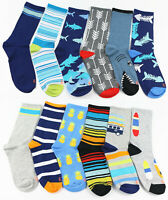 12 Pairs Kids Crew Ankle Socks Toddler Boy Girl Cartoon Casual Shoe Size13-4
