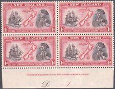 NEW ZEALAND 1940 Centenary 1d Captain Cook plate block MNH CP cat NZ$40.....K483