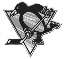 Pittsburgh Penguins Silver Auto Emblem [NEW] Car Truck NHL Sticker Decal