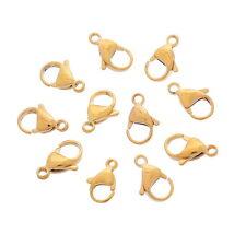 50 Fermoirs mousqueton Acier inoxydable Bijoux Accessoire Doré 15.5x9mm