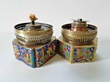 Two Vintage Chinese Brass Enamel Cloisonee Opium Oil Lamp