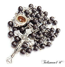 Black Hematite Catholic ROSARY Beads Religious Necklace Jerusalem Soil & Cross