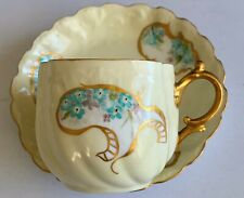 Stunning Very Rare Hand Painted M R Limoges Cup & Saucer Blue Floral & Gold