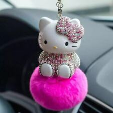 Cute Rhinestone Crystal Hello Kitty Auto Car Pendant Pompom Real Fur Pearl Chain