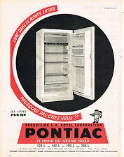 PUBLICITE ADVERTISING  1960   PONTIAC  réfrigérateur frigidaire
