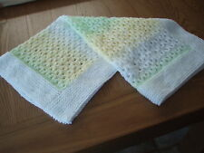 Handmade:A Lovely Hand Knitted White/Yellow/Green Acrylic Baby Blanket-crib etc