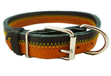 "Designer Genuine Leather Tri-Color Dog Collar 11""-14"" neck for Small/Medium Dogs"