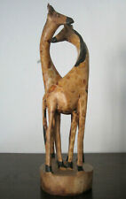 Carved Wooden Giraffes Figurine 32cm African Wood Animal Ornament Figure