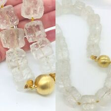"""24 x 20 mm Hammered Rock Crystal .925 Yellow Gold Vermeil 19"""" Long """"Sample Sale"""""""
