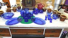 Cobalt blue vintage glass ware 20 pieces  creamer & sugar, salt & pepper, gravy