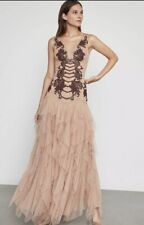 NWT BCBG MAXAZRIA Floral Embroidered Tulle Gown Color Nude Size 6