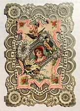 Pretty 1890s Valentine's Day Card w/ Silver Paper Lace and Images of Flowers