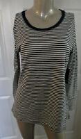 A.N.A Top ~ Shirt Navy Blue Stripe Long Sleeve Women's M Medium NWT