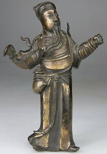 ANTIQUE RARE CHINESE BRONZE STATUE FIGURE BUDDHA GUANDI WARRIOR GILT - Ming 17TH