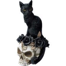 Grimalkin's Ghost Cat - Black Cat Skull Roses Gothic Figurine -Witches Rituals