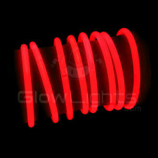"(50) 8"" GLOW LIGHT STICKS BRACELETS - NEON RED - PREMIUM - GLO LITE PARTY"