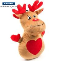 Ancol Dog Puppy Christmas Plush Reindeer Squeaky Toy Festive Toys Free UK P&P