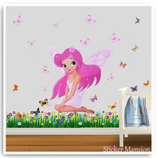 Princess Pink Fairy Wall Stickers Butterfly Nursery Girls Pink Bedroom Decal Art