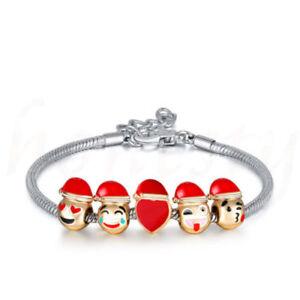 18ct Gold Plated Emoji Christmas Charm Bracelet Premium Jewellery Gift 5 Charms