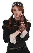 Steampunk Ladies Brown Fingerless Gloves Fancy Dress Costume Accessory Victorian