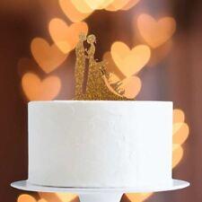 Gold Glitter Mr/Mrs On Dress Cake Topper x1 Baking Pick Decoration Wedding