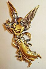 Vintage JJ Brushed Gold tone Fairy Angel Holding a Crystal Ball Brooch-signed