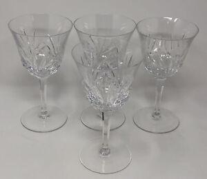 "Set of 4 Gorham Clear Crystal Cherrywood 6.75"" Tall Wine Goblets Glasses AL"