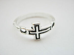 Cross Ring Size 7.5 (Size P) Religious Christian Cross Jewellery Silver Plated