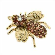 18K Gold over 925 Silver 1.5ct Garnet & CZ Fly Pin & Pendant
