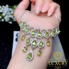 Natural Olivine Gemstones Solid 925 Sterling Silver Cocktail Luxury Necklace