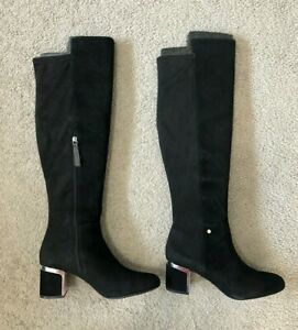 DKNY Women's Cora Knee High Boots Black Suede Size 10M - NEW WITH BOX